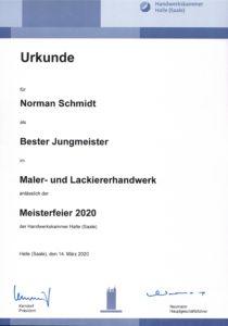 Meisterurkunde - Bester Jungmeister 2020 Schmidt der Maler